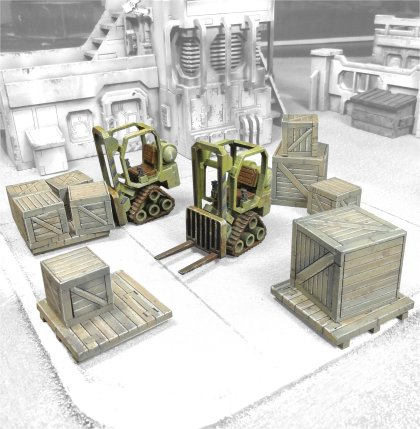 Mini Forklifts with crates - Click Image to Close